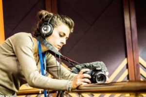 Aliki Saragas filming in parliament. Photo Credit: Jamie Dimitra Ashton.